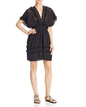 PLACE NATIONALE Pujols Embroidered Cotton Dress in Black