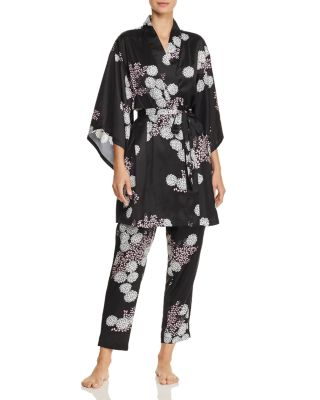 Freestyle Floral Print Satin Short Robe