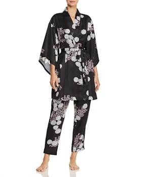 1b97bf076 Josie - Freestyle Floral Print Satin Short Robe   Satin Pants ...
