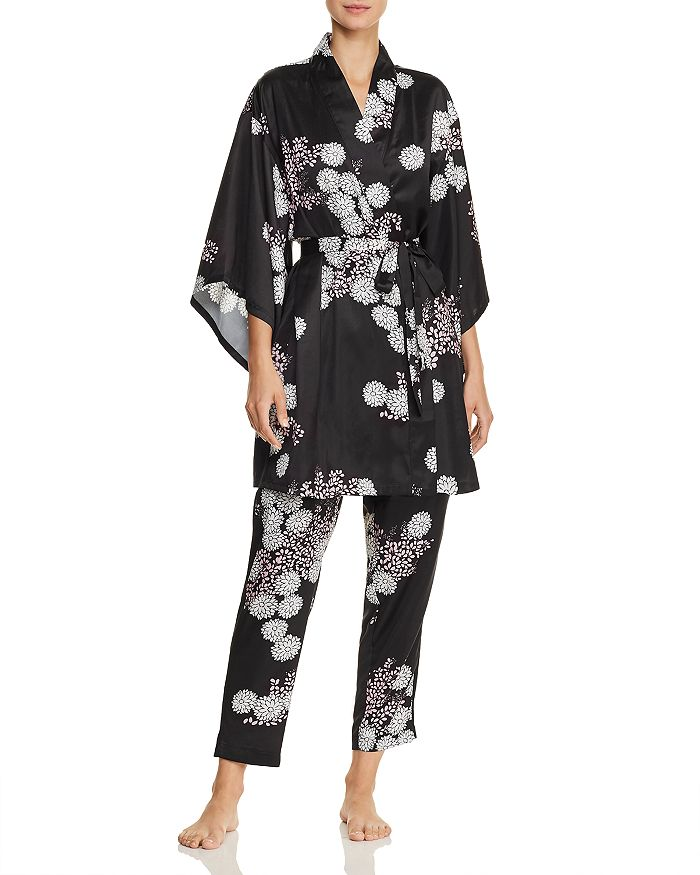 Josie Freestyle Floral Print Satin Short Robe   Satin Pants ... 475f3da4c