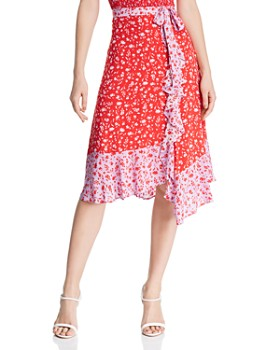 Parker - Collins Faux-Wrap Floral Skirt - 100% Exclusive