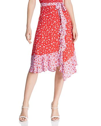 Parker - Collins Faux-Wrap Floral Skirt - 100% Exclusive