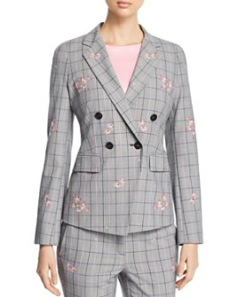 Marella - Taiga Floral-Embroidered Plaid Jacket