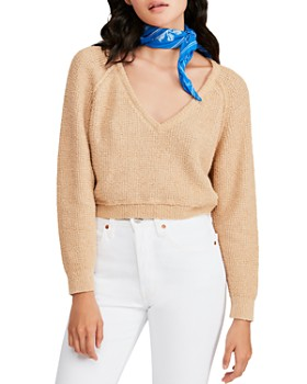 4d781303f5a Free People - Cropped V-Neck Sweater ...