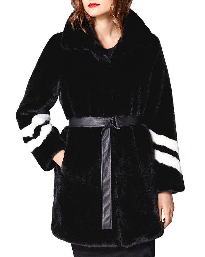 KAREN MILLEN - Striped-Sleeve Faux Fur Coat