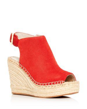 Women'S Olivia Perforated Platform Wedge Espadrille Sandals in Fuego