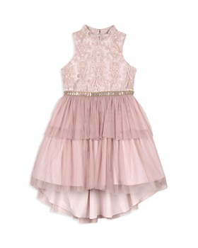 Badgley Mischka - Girls' High/Low Tiered Dress - Little Kid