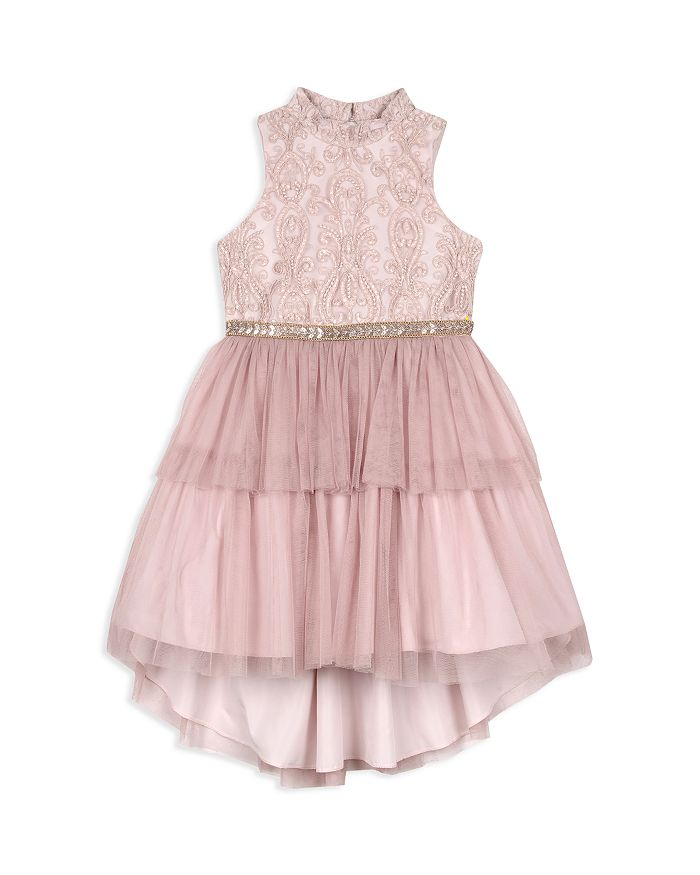 Badgley Mischka - Girls' High/Low Tiered Dress - Little Kid