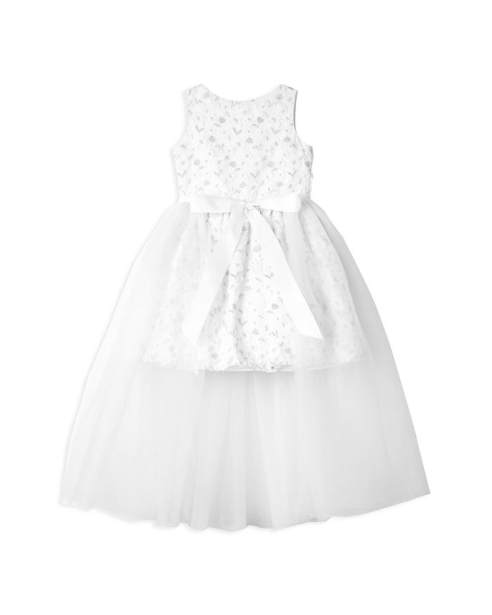 Badgley Mischka - Girls' Layered-Look Lace & Tulle Bow Dress - Little Kid
