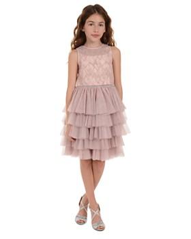 Badgley Mischka - Girls' Beaded Illusion Multi-Tier Dress - Big Kid