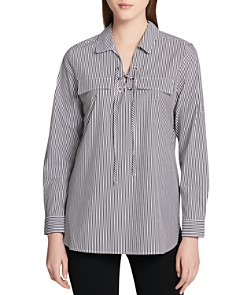 Calvin Klein - Pinstriped Lace-Up Top