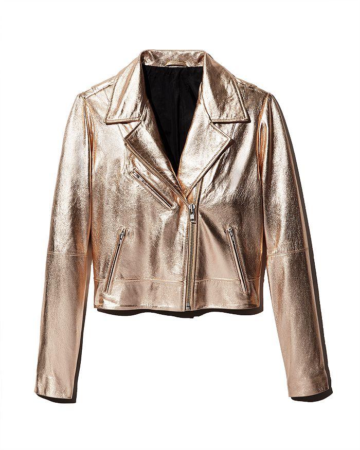 AQUA - Metallic Leather Moto Jacket - 100% Exclusive