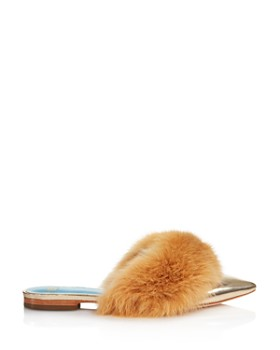 Frances Valentine - Women's Paloma Pointed Toe Rabbit Fur & Leather Mules - 100% Exclusive