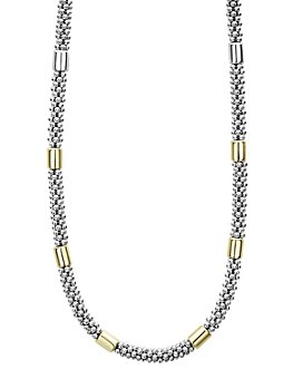 """LAGOS - 18K Yellow Gold & Sterling Silver High Bar Station Necklace, 16"""""""