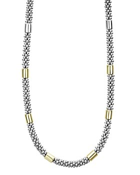 LAGOS - 18K Yellow Gold & Sterling Silver High Bar Station Necklaces