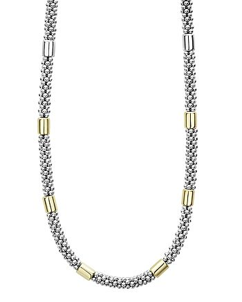 LAGOS - 18K Yellow Gold & Sterling Silver High Bar Station Necklace, 16""