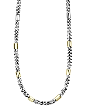 Lagos Jewelry 18K YELLOW GOLD & STERLING SILVER HIGH BAR STATION NECKLACE, 16