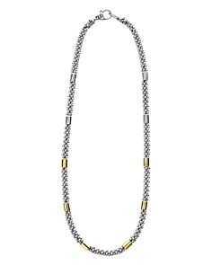 """LAGOS - Sterling Silver & 18K Yellow Gold High Bar Station Necklace, 18"""""""