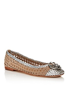 Tory Burch - Women's Chelsea Woven Leather Cap-Toe Flats