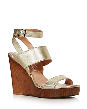 Charles David Sandals WOMEN'S TURK 2 LEATHER WEDGE SANDALS