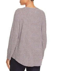 Eileen Fisher Plus - High/Low Striped Linen Tee