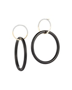 MATEO - 14K Yellow Gold Small Half Moon & Onyx Connecting Drop Earrings