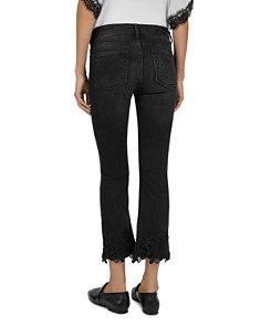 The Kooples - Lace Hem Cropped Flare Jeans in Black Washed