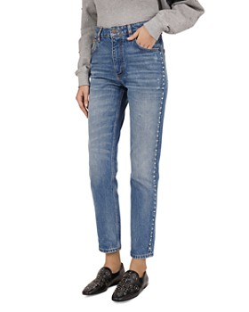 The Kooples - Studded Straight Jeans in Blue Denim