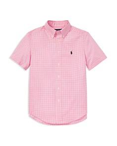 Ralph Lauren - Lauren Boys' Gingham Flannel Short Sleeve Shirt - Big Kid