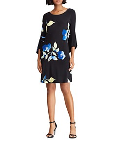 Ralph Lauren - Bell-Sleeve Floral-Jersey Dress