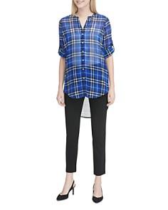 Calvin Klein - High/Low Plaid Tunic