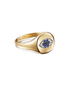 David Yurman - Cable Collectibles Evil Eye Mini Pinky Ring in 18K Gold with Diamonds