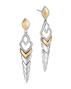JOHN HARDY - 18K Yellow Gold & Sterling Silver Legends Naga Pavé Diamond Long Drop Earrings