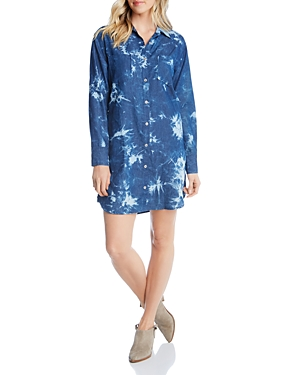 Karen Kane  TIE-DYE DENIM SHIRT DRESS