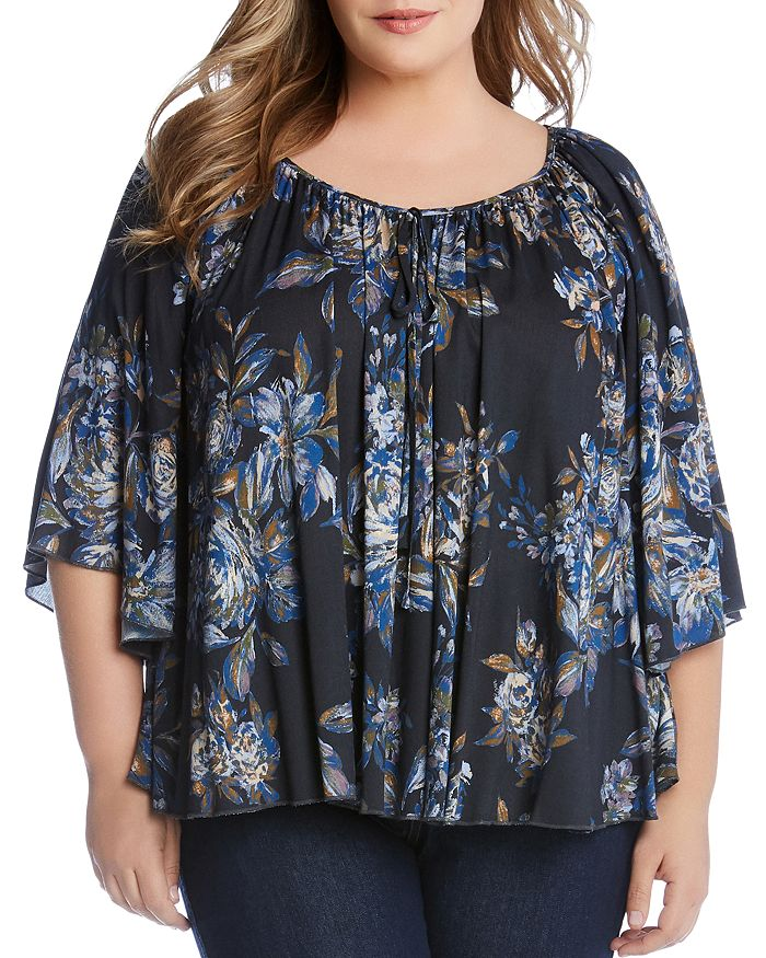 Karen Kane Plus - Floral-Print Flutter-Sleeve Top