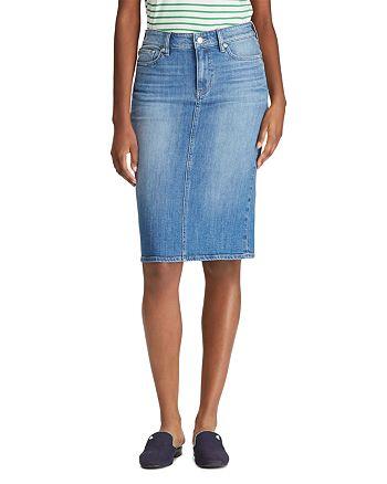 aito alennuksessa tunnetut tuotemerkit Ralph Lauren Denim Pencil Skirt   Bloomingdale's