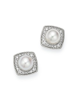 Bloomingdale's - Cultured Freshwater Pearl & Diamond Square Stud Earrings in 14K White Gold, 0.25 ct. t.w. - 100% Exclusive