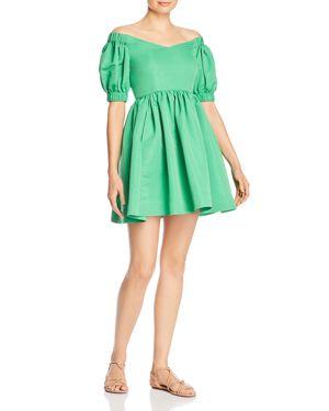 PERSEVERANCE LONDON Ottoman Off-The-Shoulder Mini Dress in Green