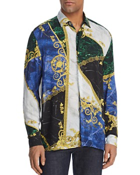 c326bc2607 Versace Collection - Marble-Print Regular Fit Shirt