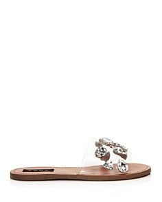 AQUA - Women's Twink Crystal-Embellished Clear Slide Sandals - 100% Exclusive