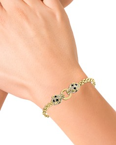 Bloomingdale's - Black & White Diamond Panther Bracelet in 14K Yellow & White Gold - 100% Exclusive