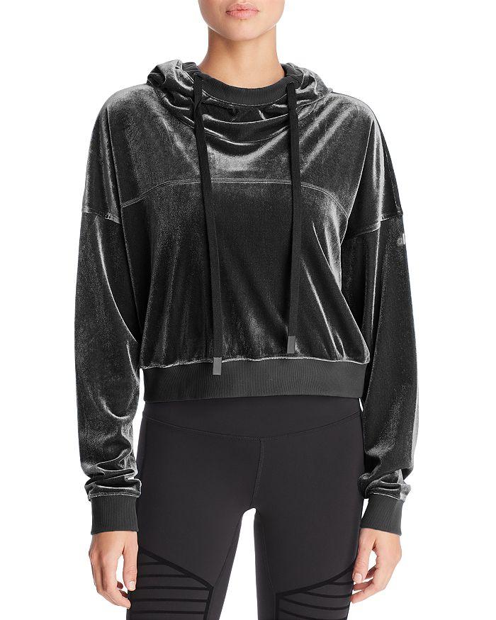Alo Yoga - Velour Cropped Hooded Sweatshirt