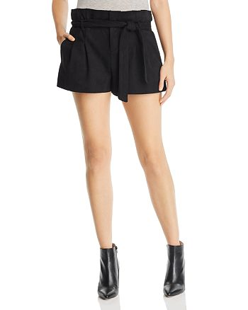 AQUA - Paperbag-Waist Faux Suede Shorts - 100% Exclusive