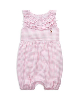 Ralph Lauren - Girls' Ruffled Gingham Cotton Romper - Baby ...