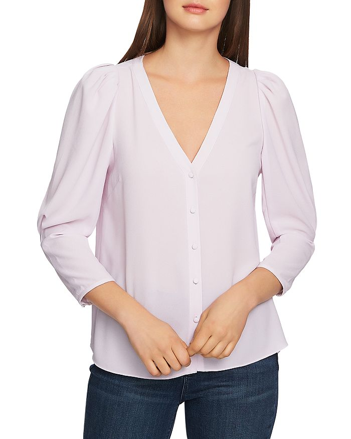 1.STATE - Puff-Sleeve V-Neck Top