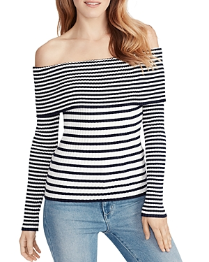 Ella Moss Charlotte Striped Off-the-Shoulder Cotton Sweater