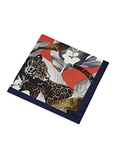 Ted Baker - Balloon Tiger & Floral Silk Pocket Square