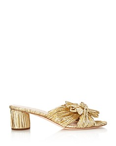 Loeffler Randall - Women's Emilia Open-Toe Metallic Fabric High-Heel Slide Sandals