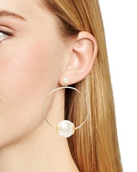 kate spade new york - Simulated-Pearl Frontal Hoop Earrings