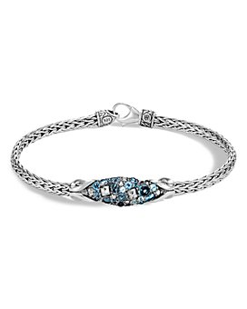 JOHN HARDY - Sterling Silver Classic Chain Slim Link Bracelet with Multi-Stone Station